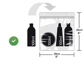 Liquids bottles should be less than 100 ml and must fit in less than 20 cm into 20 cm packet