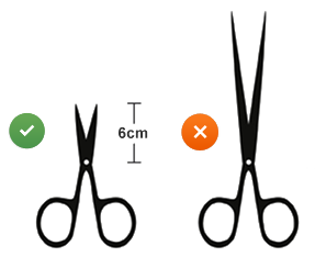 Scissors should be less than 6cm length